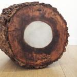 longueur 35cm x l. 30 cm x h. 40 cm bois d'orme, ciment